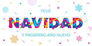 El multicolor español del papercut del vector de la tarjeta de felicitación de Feliz Navidad Merry Christmas acoda Fotos de archivo