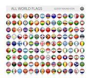 El mundo brillante redondo señala la colección del vector por medio de una bandera libre illustration