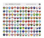 El mundo brillante redondo señala la colección del vector por medio de una bandera ilustración del vector