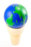 El mundo como cono de helado Foto de archivo libre de regalías