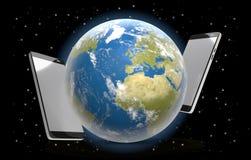 El mundo de los teléfonos protagoniza el universo 3d-illustration Foto de archivo