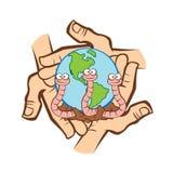 El mundo del reciclador de la lombriz de tierra Foto de archivo libre de regalías