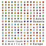El mundo del vector señala los botones del Web por medio de una bandera fotos de archivo