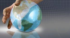 El mundo en sus manos stock de ilustración