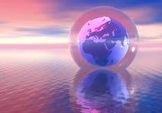 El mundo en una bola de cristal Fotografía de archivo libre de regalías