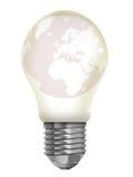 El mundo en una bombilla Foto de archivo libre de regalías