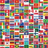 El mundo inconsútil señala el fondo por medio de una bandera Foto de archivo libre de regalías