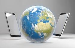 El mundo llama por teléfono a 3d-illustration Foto de archivo libre de regalías