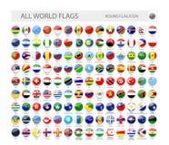 El mundo redondo señala la colección del vector por medio de una bandera ilustración del vector