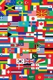 El mundo señala el backround por medio de una bandera Fotografía de archivo