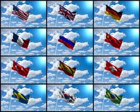 El mundo señala el collage por medio de una bandera foto de archivo