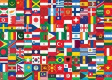 El mundo señala el fondo por medio de una bandera Imágenes de archivo libres de regalías