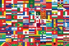 El mundo señala el fondo por medio de una bandera Foto de archivo