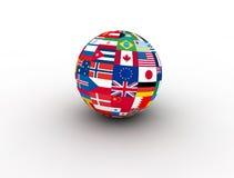 El mundo señala el globo por medio de una bandera Ilustración del Vector