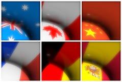 El mundo señala la colección por medio de una bandera Foto de archivo libre de regalías