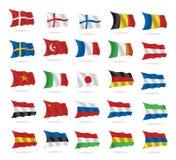 El mundo señala la colección por medio de una bandera en blanco Foto de archivo