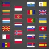 El mundo señala la colección por medio de una bandera, Europa, parte 2 Imágenes de archivo libres de regalías