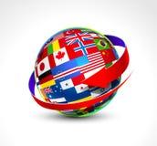 El mundo señala la esfera por medio de una bandera Imágenes de archivo libres de regalías