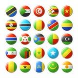 El mundo señala por medio de una bandera alrededor de las insignias, imanes África Imágenes de archivo libres de regalías