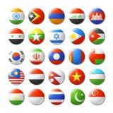 El mundo señala por medio de una bandera alrededor de las insignias, imanes asia Imágenes de archivo libres de regalías