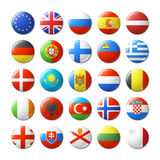 El mundo señala por medio de una bandera alrededor de las insignias, imanes europa Foto de archivo