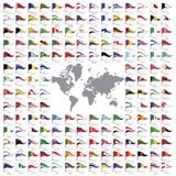 El mundo señala todos por medio de una bandera Imagen de archivo libre de regalías