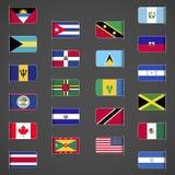 El mundo señala la colección, el norte y America Central por medio de una bandera Imágenes de archivo libres de regalías