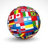 El mundo señala la esfera por medio de una bandera. Imágenes de archivo libres de regalías