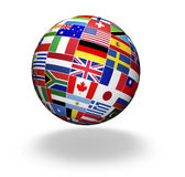 El mundo señala negocio por medio de una bandera internacional Fotos de archivo libres de regalías