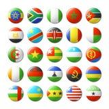 El mundo señala por medio de una bandera alrededor de las insignias, imanes África Imagen de archivo libre de regalías