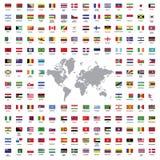 El mundo señala todos por medio de una bandera Fotografía de archivo libre de regalías