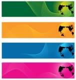 El mundo y la onda alinean el fondo de la bandera del Web Foto de archivo libre de regalías