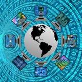 El mundo y los ordenadores stock de ilustración