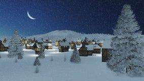 El municipio Dreamlike en la noche del invierno de las nevadas Imágenes de archivo libres de regalías