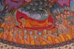 El mural cuenta la historia sobre el Buda Fotos de archivo libres de regalías