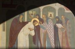 El mural en la abadía del sergei de Sam, Federación Rusa Fotos de archivo