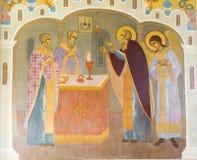 El mural en la abadía del sergei de Sam, Federación Rusa Imágenes de archivo libres de regalías