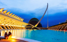 El Museu de les Ciencies Principe Felipe and L'Agora in  night Royalty Free Stock Photos