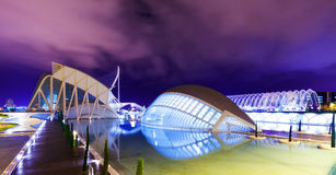El Museu de les Ciencies Principe Felipe and LHemi. VALENCIA, SPAIN - AUGUST 26: City of Arts and Sciences on August 26, 2013 in Valencia, Spain. El Museu de les royalty free stock image
