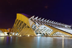 El Museu de les Ciencies Principe Felipe  in night time Royalty Free Stock Images