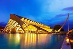 El Museu de les Ciencies Principe Felipe in night. VALENCIA, SPAIN - AUGUST 26: City of Arts and Sciences - El Museu de les Ciencies Principe Felipe in night on stock images