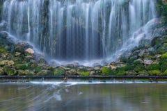El musgo verde cubrió piedras en cascadas imagen de archivo libre de regalías