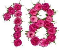 El número árabe 18, dieciocho, de las flores rojas de subió, aislado Imagenes de archivo