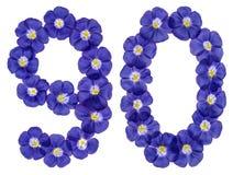 El número árabe 90, noventa, de las flores azules del lino, aisló o Imagenes de archivo