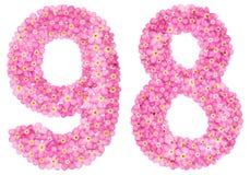 El número árabe 98, noventa eigh, de la nomeolvides rosada florece, Imagen de archivo