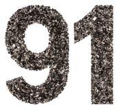El número árabe 91, noventa uno, de negro un carbón de leña natural, es Imagenes de archivo
