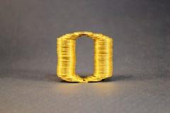 El número cero construyó de monedas Fotos de archivo libres de regalías