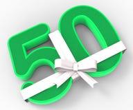 El número cincuenta con la cinta exhibe la quincuagésima celebración del cumpleaños ilustración del vector