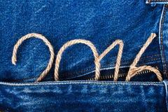 El número 2016 de cuerda en el fondo del frente del je Foto de archivo libre de regalías