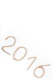 El número 2016 de cuerda en un fondo blanco Tema de Christmass Foto de archivo